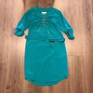 Michael Kors Teal Lace Up Dress